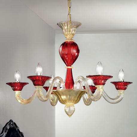 """Ermes"" Murano glass chandelier - 6 lights - gold and red"