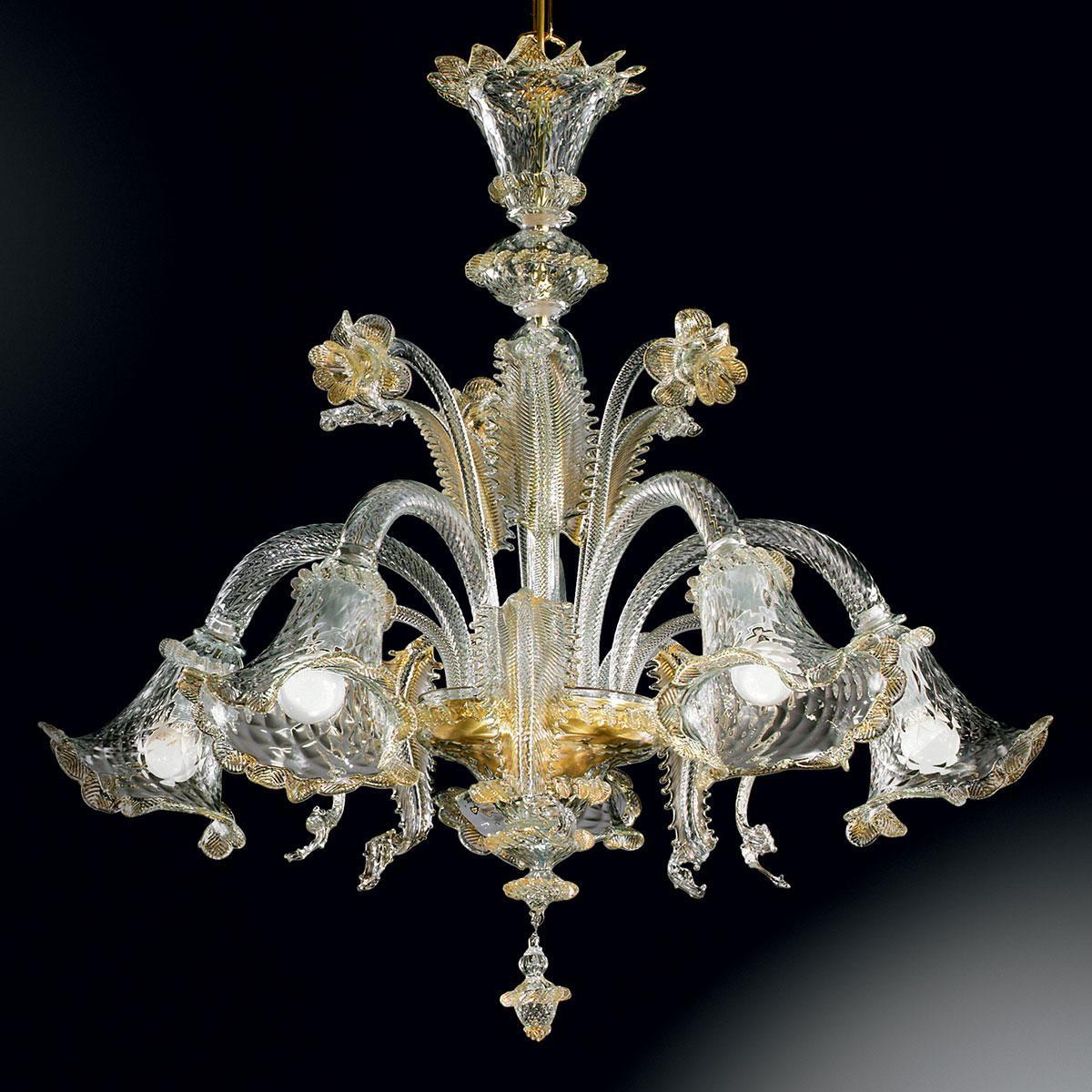 """""""Gaia"""" lustre en cristal de Murano - 5 lumières - transparent et or"""