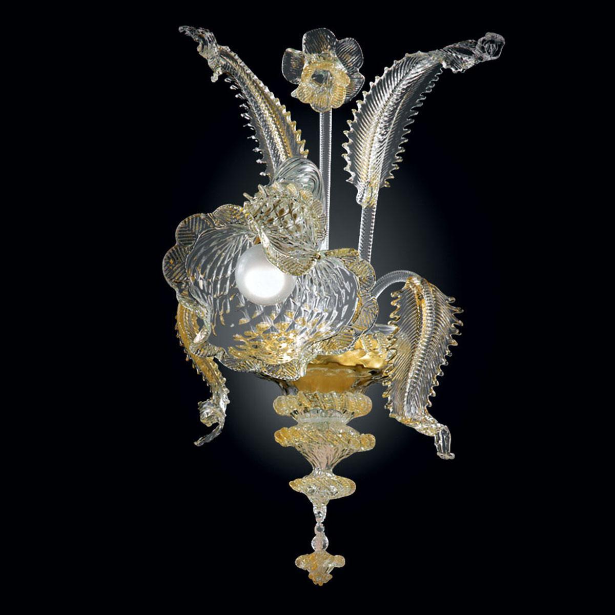 """""""Gaia"""" applique en verre de Murano - 1 lumière - or et transparent"""