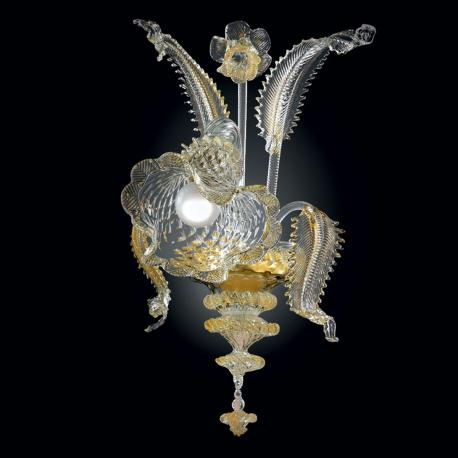 """Gaia"" Murano glass sconce - 1 light - gold and transparent"