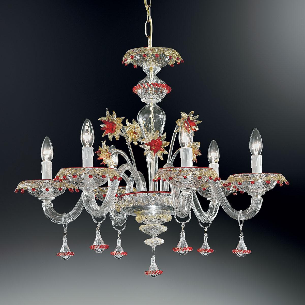 """""""Florenza"""" lustre en cristal de Murano - 6 lumières - transparent, or et rouge"""