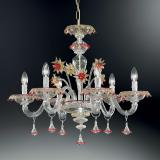 """Florenza"" Murano glass chandelier - 6 lights - transparent, gold and red"
