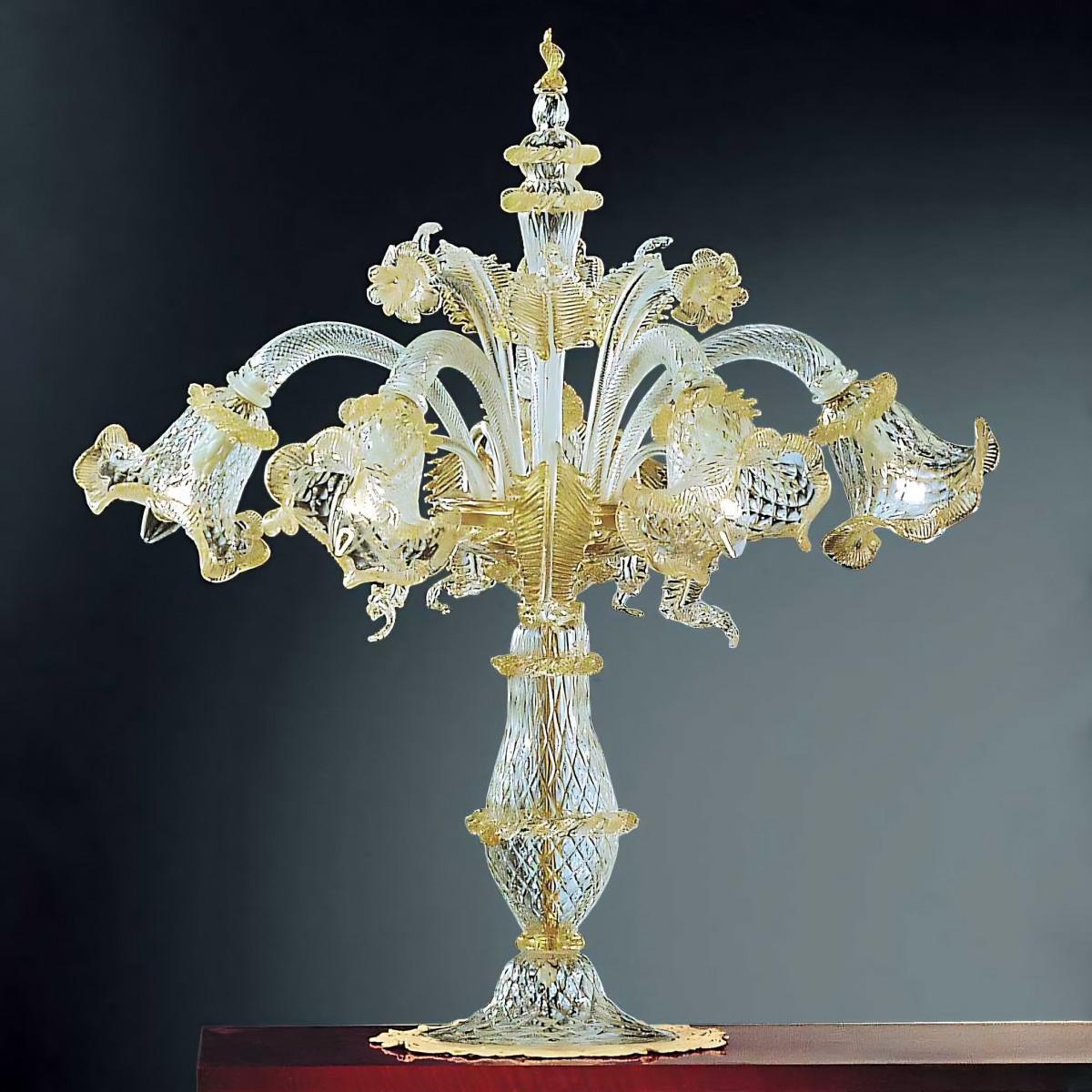Canal Grande 5 luces gran lámpara de mesa de Murano - color oro transparente