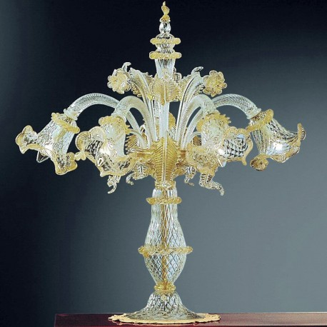 Canal Grande 5 lights Murano big table lamp - transparent gold color