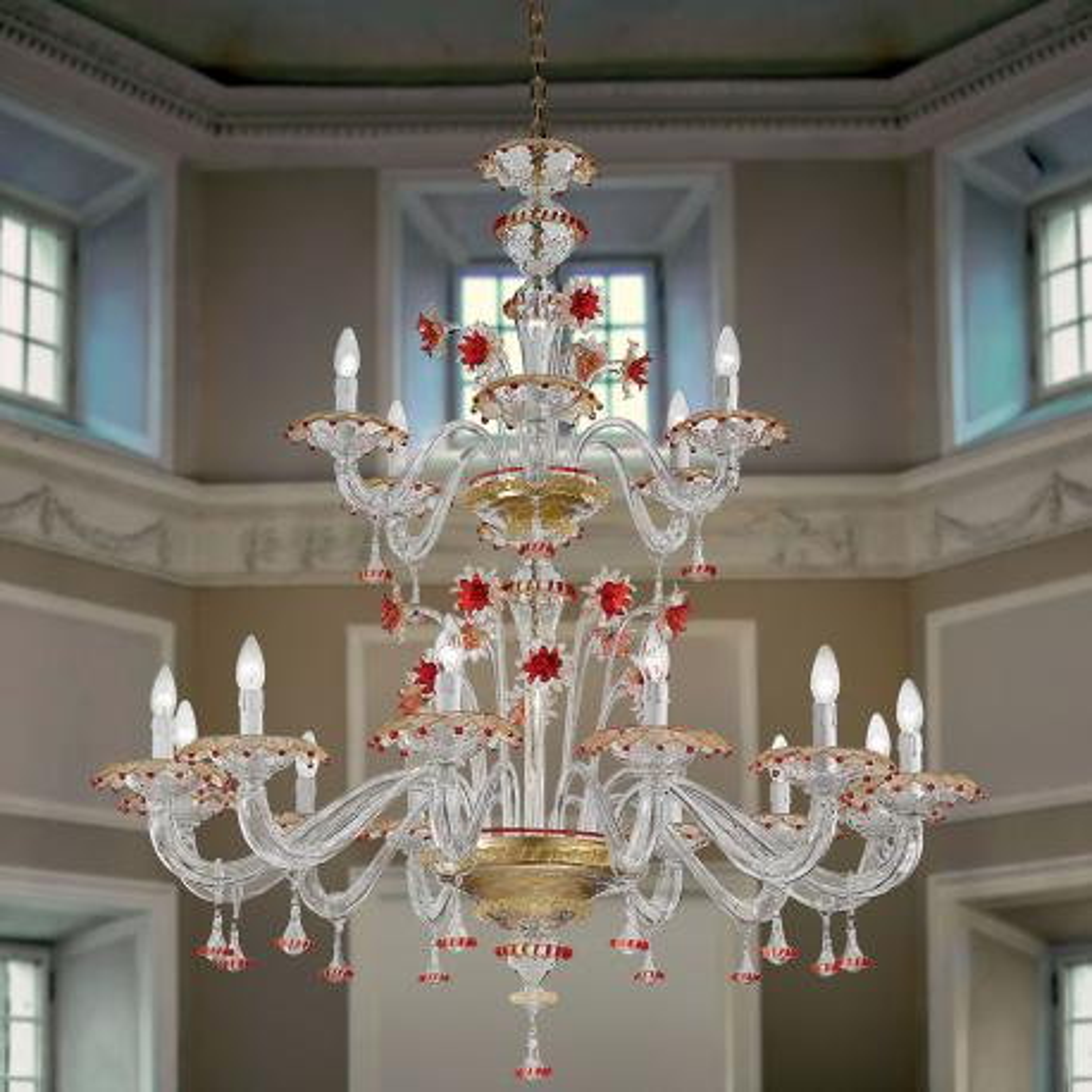 """""""Florenza"""" lampara de araña de Murano dos niveles - 12+6 luces - transparente, oro y rojo"""