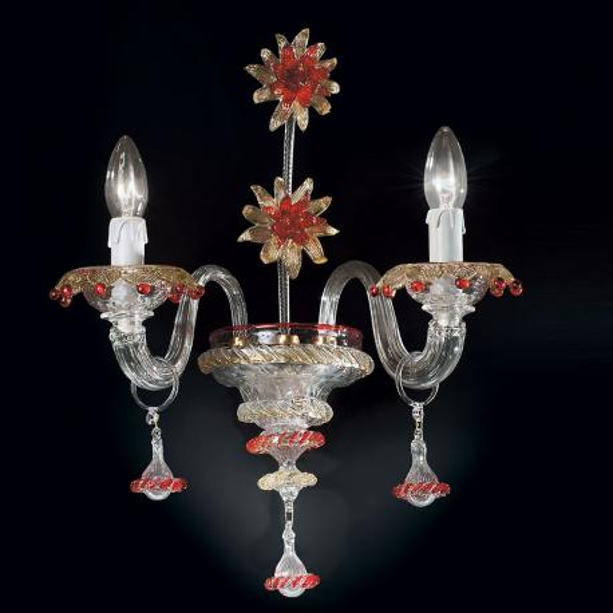 """""""Florenza"""" applique en verre de Murano - 2 lumières - transparent, or et rouge"""