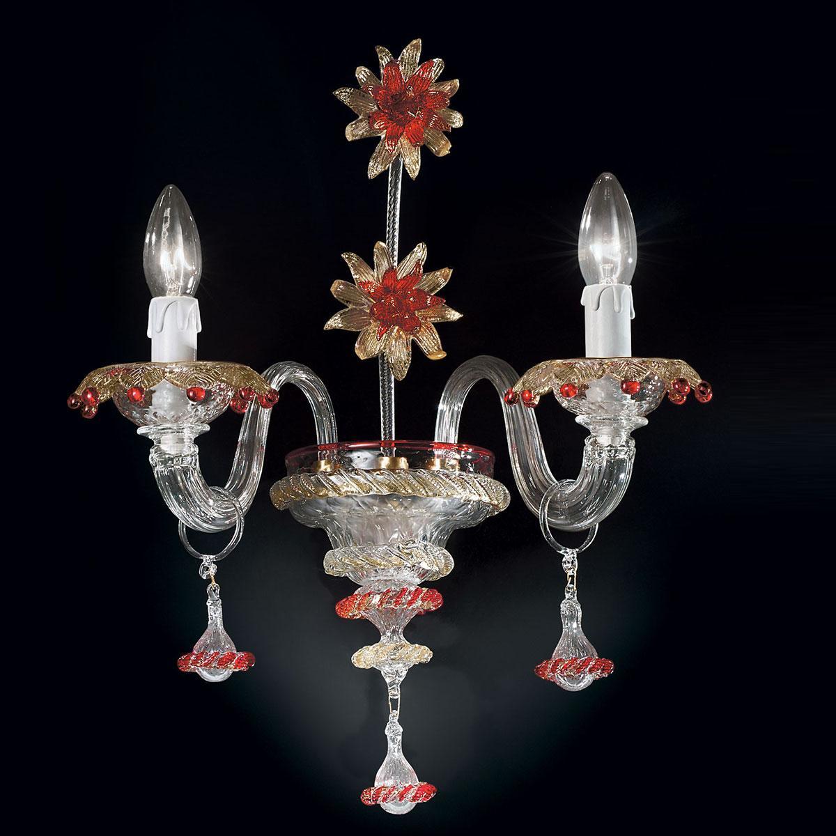 """""""Florenza"""" Murano glas wandleuchte - 2 flammig - transparent, gold und rot"""
