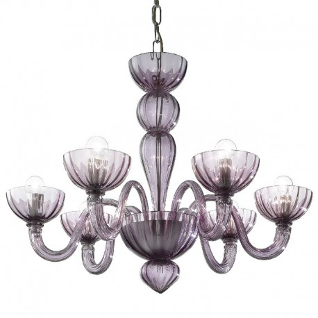 Redentore 6 lights Murano chandelier - amethyst color