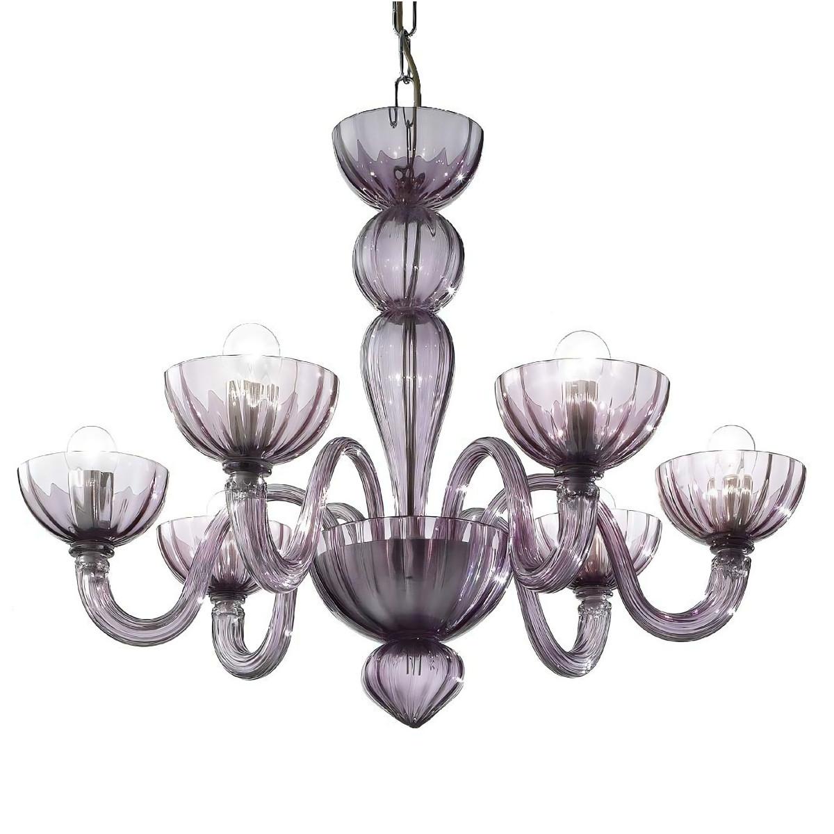 Redentore 6 lights Murano chandelier - amethyst color