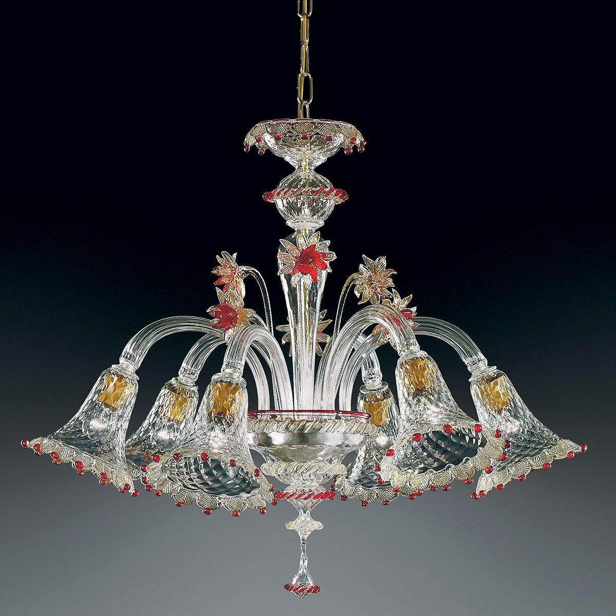 """""""Rosalba"""" lustre en cristal de Murano - 6 lumières - transparent, or et rouge"""