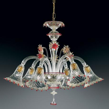 """Rosalba"" Murano glass chandelier - 6 lights - transparent, gold and red"