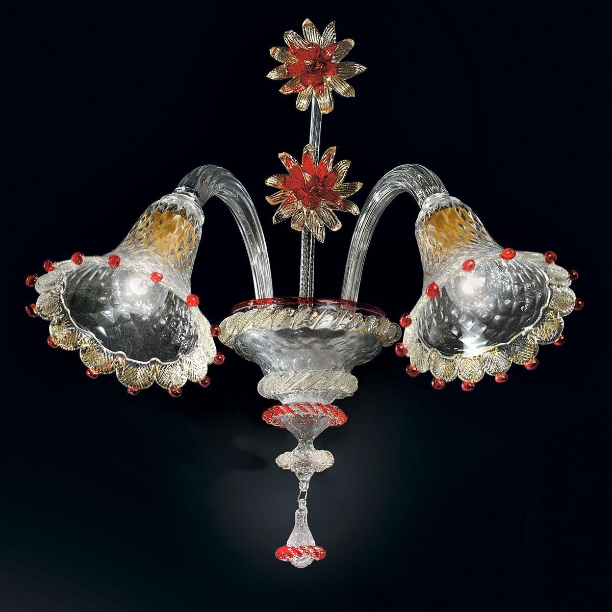 """""""Rosalba"""" applique en verre de Murano - 2 lumières - transparent, or et rouge"""