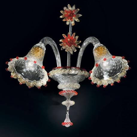 """Rosalba"" Murano glass sconce - 2 lights - transparent, gold and red"