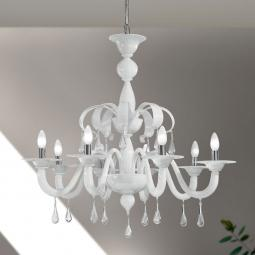 """""""Olivia"""" Murano glass chandelier - 8 lights - white and transparent"""