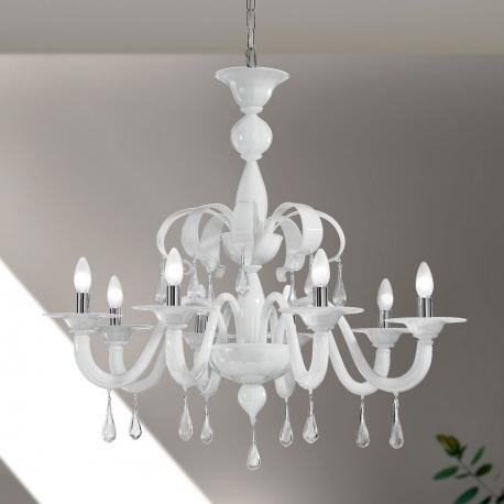 """Olivia"" Murano glass chandelier - 8 lights - white and transparent"