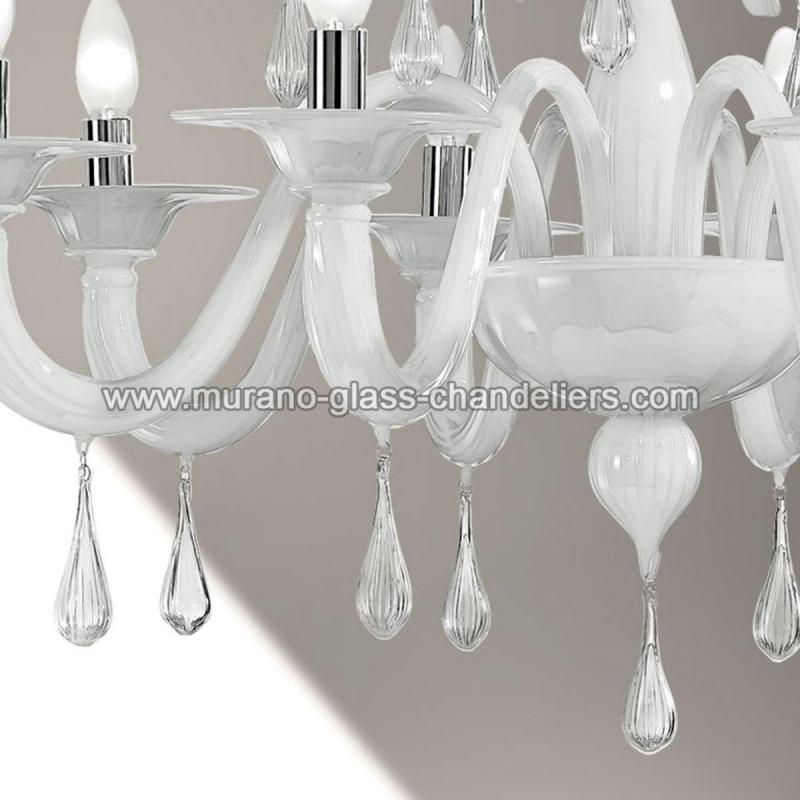"Small Murano Crystal Chandelier: ""Olivia"" White Murano Glass Chandelier"