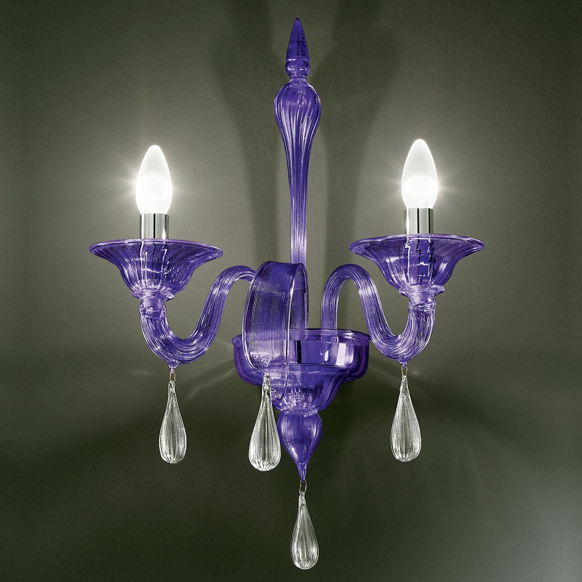 """""""Olivia"""" applique en verre de Murano - 2 lumières - violet et transparent"""