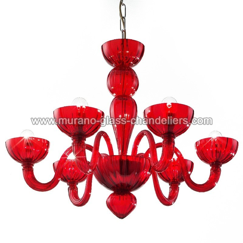 ... Redentore 6 lights Murano chandelier - red color ...