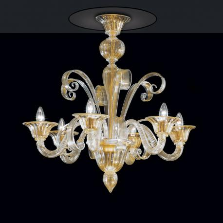 """Rodrigo"" Murano glass chandelier - 6 lights - gold"