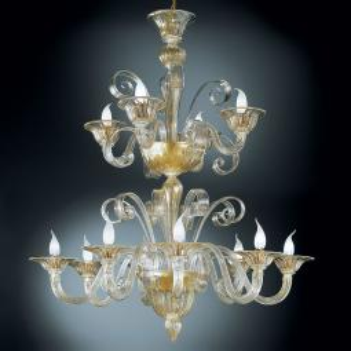"""""""Rodrigo"""" lustre en cristal de Murano à deux étages"""