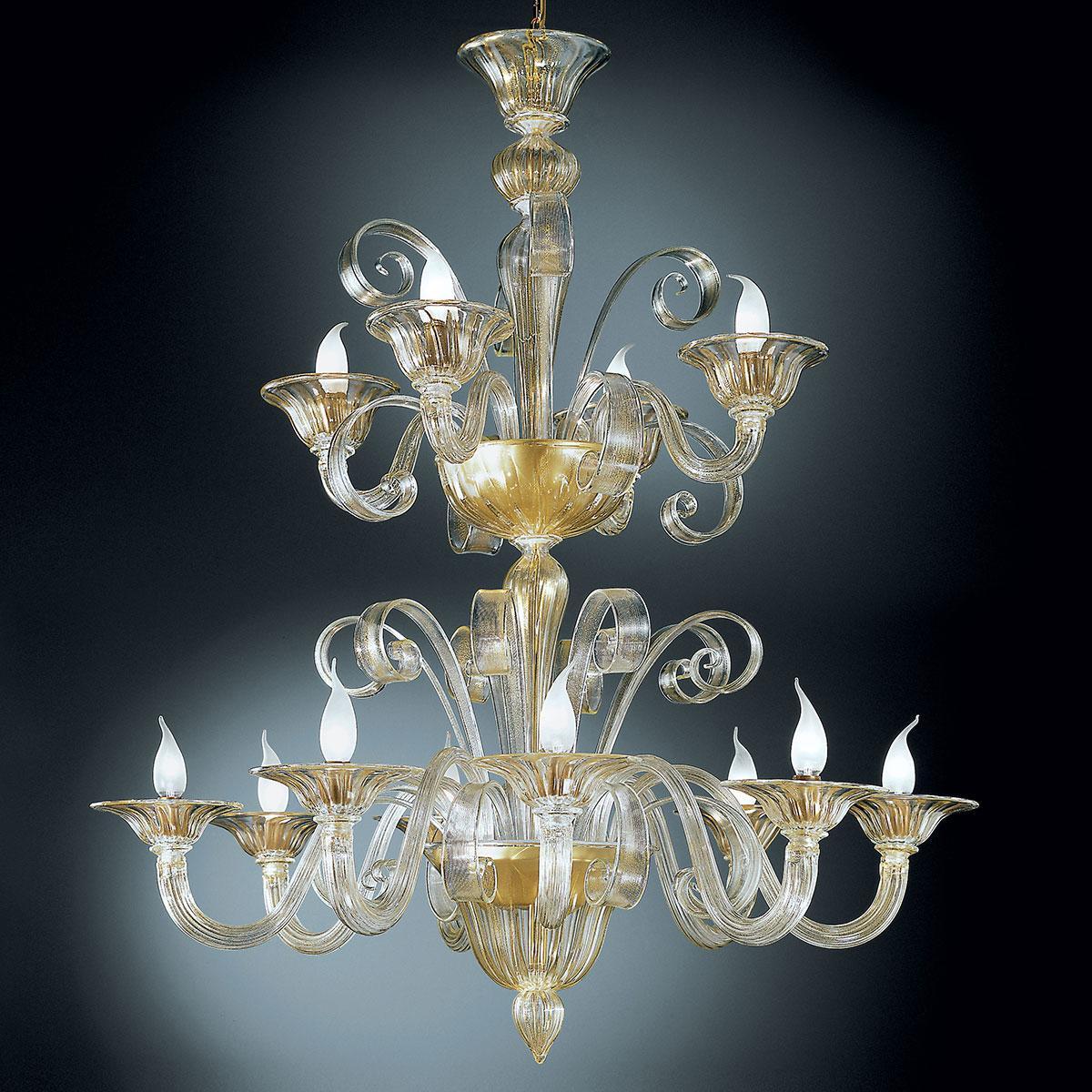 """""""Rodrigo"""" lustre en cristal de Murano à deux étages - 8+4 lumières - or"""