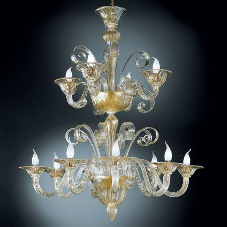 """Rodrigo"" two tier Murano glass chandelier - 8+4 lights - gold"