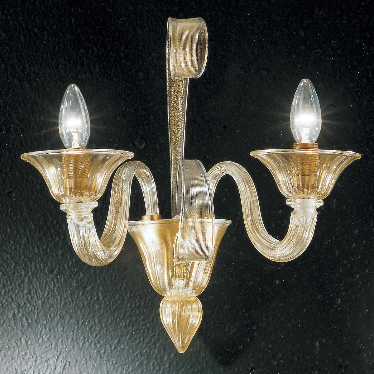 """""""Rodrigo"""" applique en verre de Murano - 2 lumières - or"""