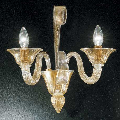 """Rodrigo"" Murano glass sconce - 2 lights - gold"