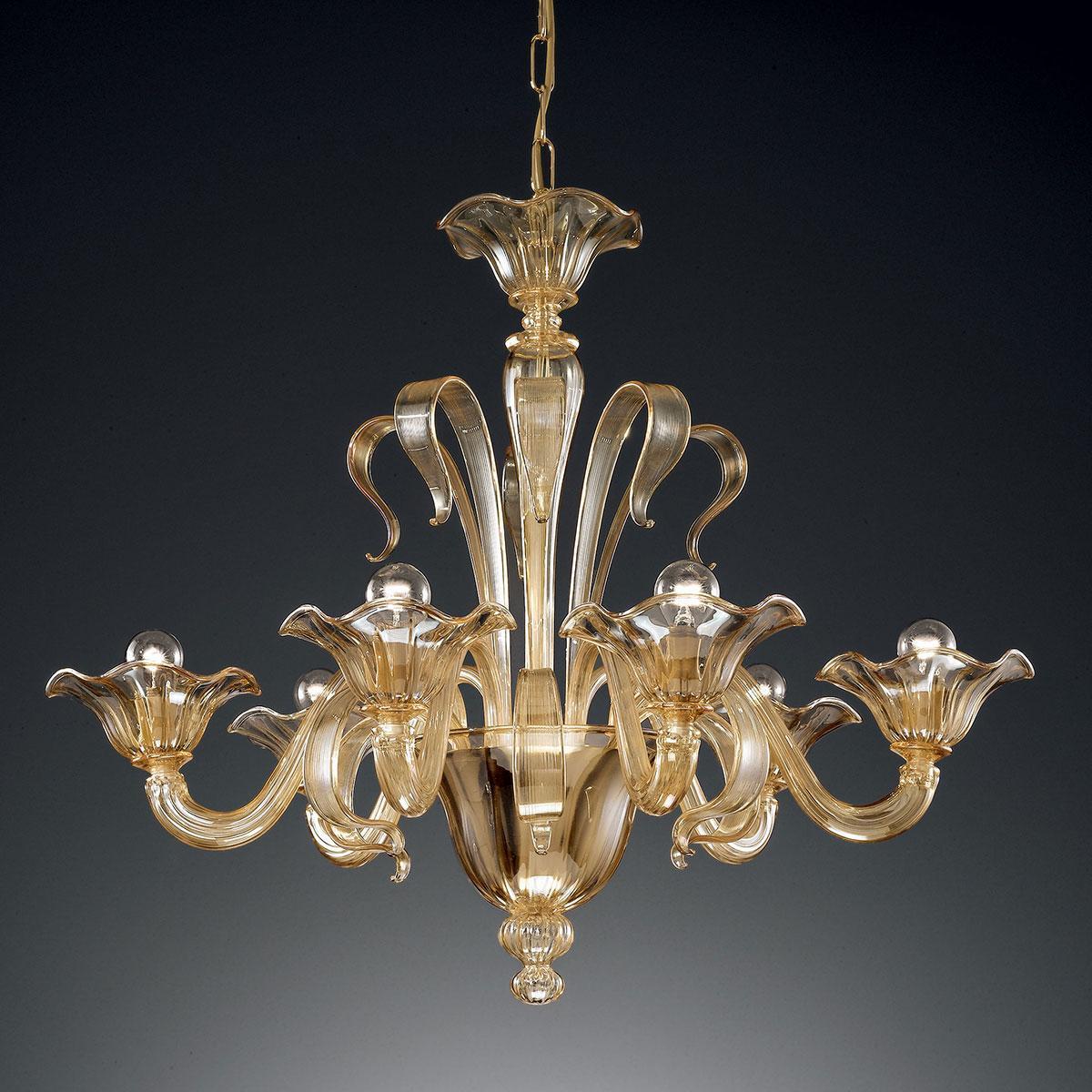 """""""Perpetua"""" lampara de araña de Murano - 6 luces - ámbar"""