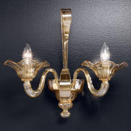 """Perpetua"" Murano glass sconce - 2 lights - amber"