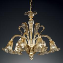 """Cristoforo"" Murano glass chandelier - 6 lights - amber"