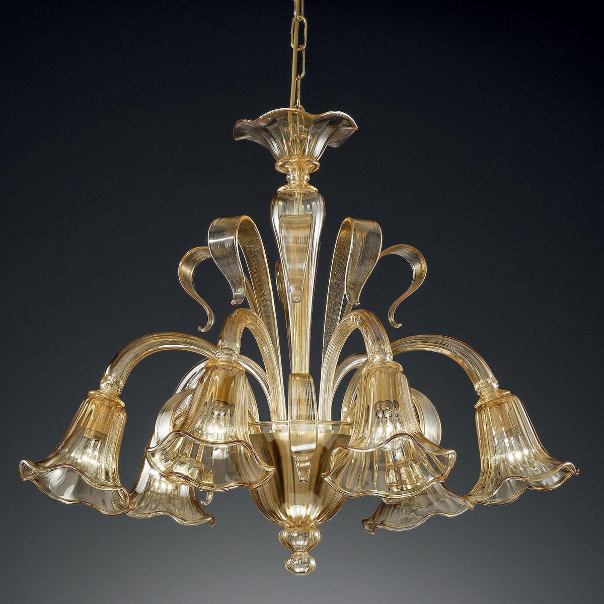 """""""Cristoforo"""" lustre en cristal de Murano - 6 lumières - ambre"""