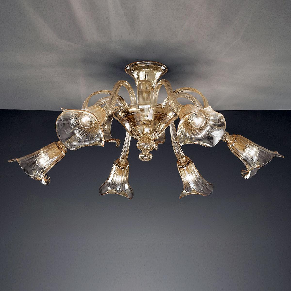 """""""Agnese"""" lustre en cristal de Murano - 6 lumières - ambre"""