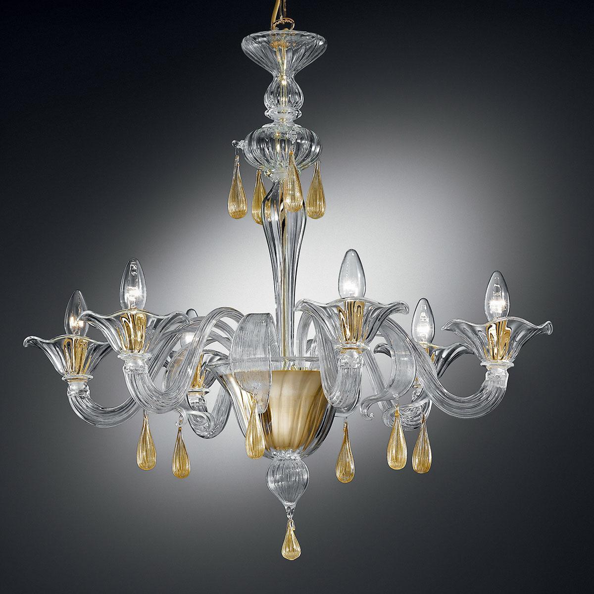 """""""Prassede"""" lustre en cristal de Murano - 6 lumières - transparent et or"""