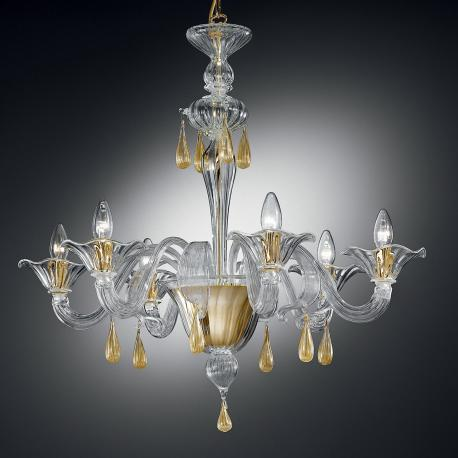 """Prassede"" Murano glass chandelier - 6 lights - transparent and gold"