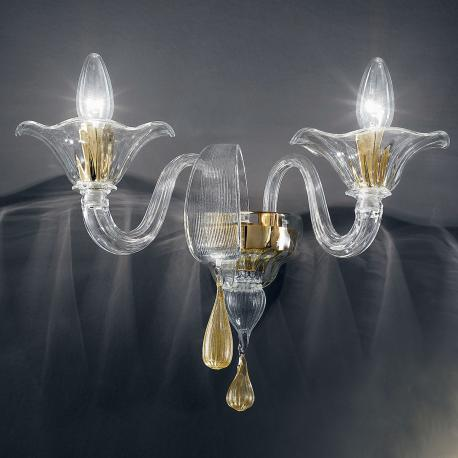 """Prassede"" Murano glass sconce - 2 lights - transparente and gold"