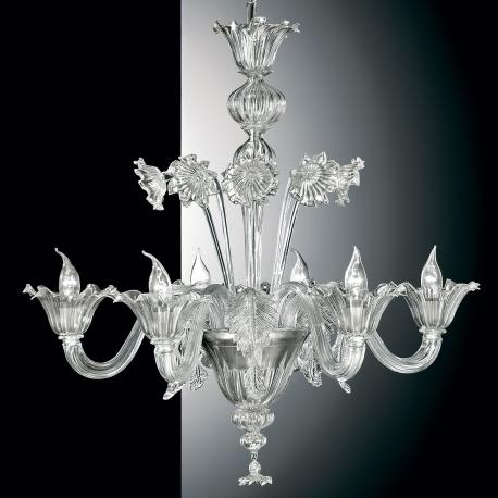 """Giustiniano"" Murano glass chandelier - 6 lights - transparent"