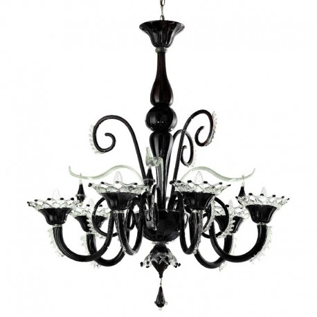 Regata 6 lights Murano chandelier - black transparent color