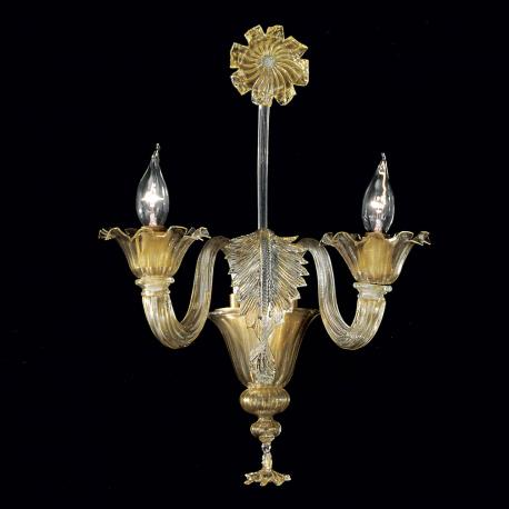 """Giustiniano"" Murano glass sconce - 2 lights - gold"