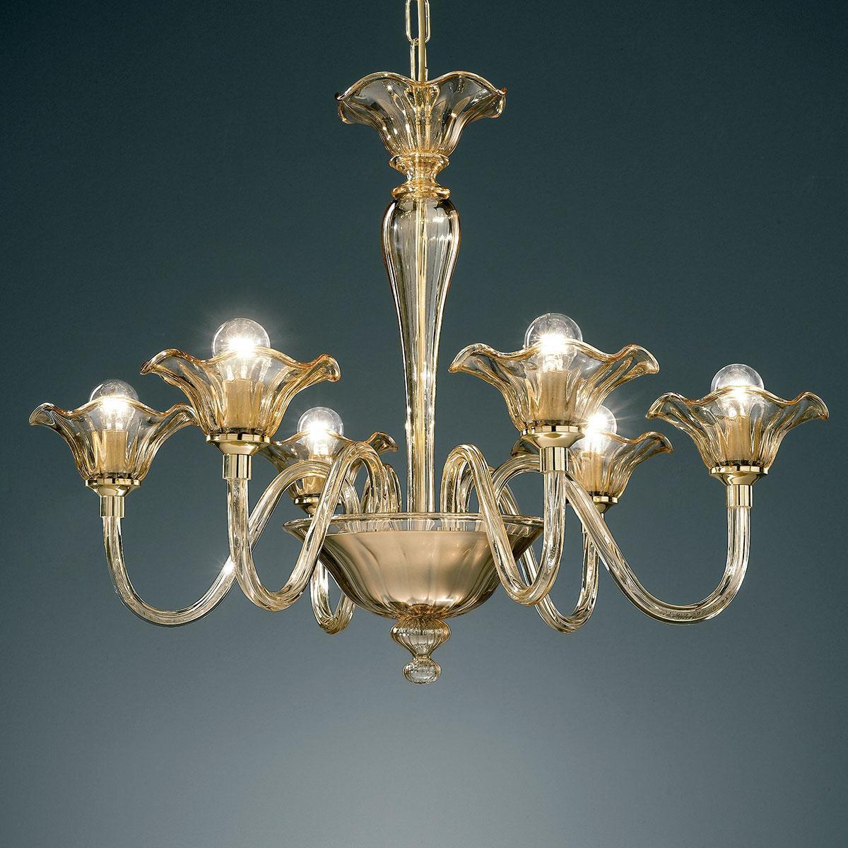 """""""Capuleto"""" lustre en cristal de Murano - 6 lumières - ambre"""