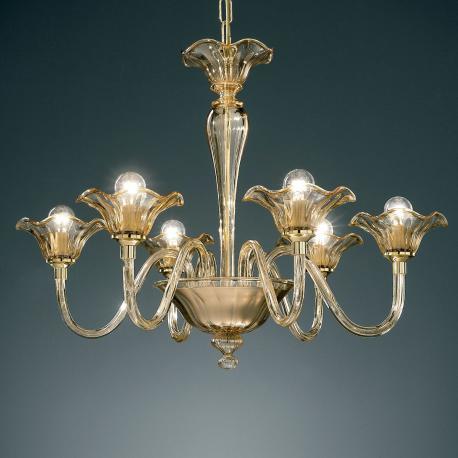"""Capuleto"" Murano glass chandelier - 6 lights - amber"