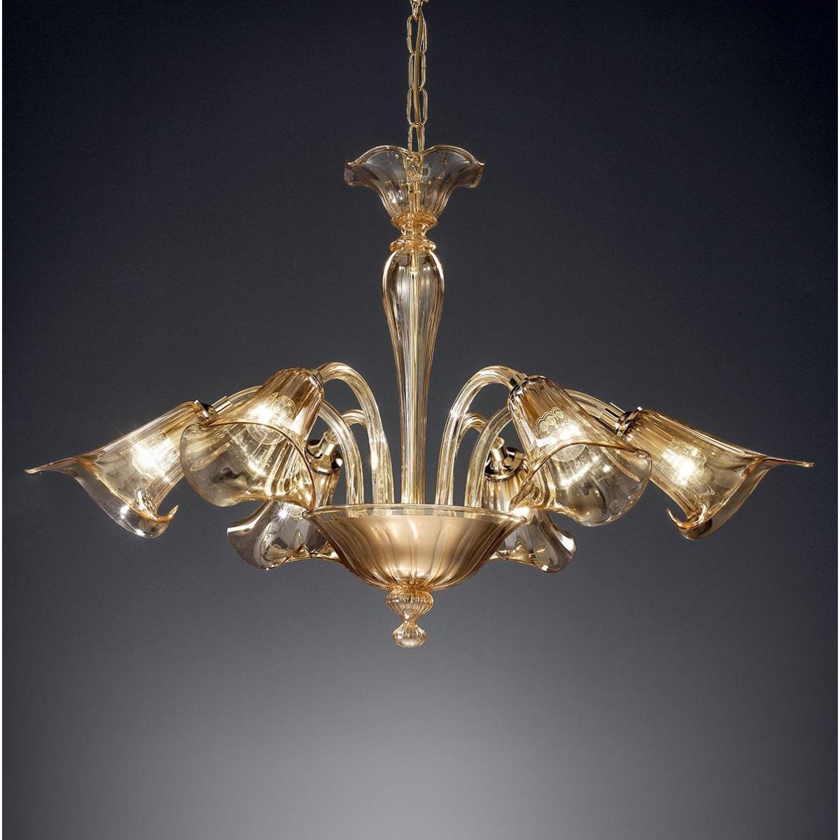 """""""Corinne"""" lustre en cristal de Murano - 6 lumières - ambre"""