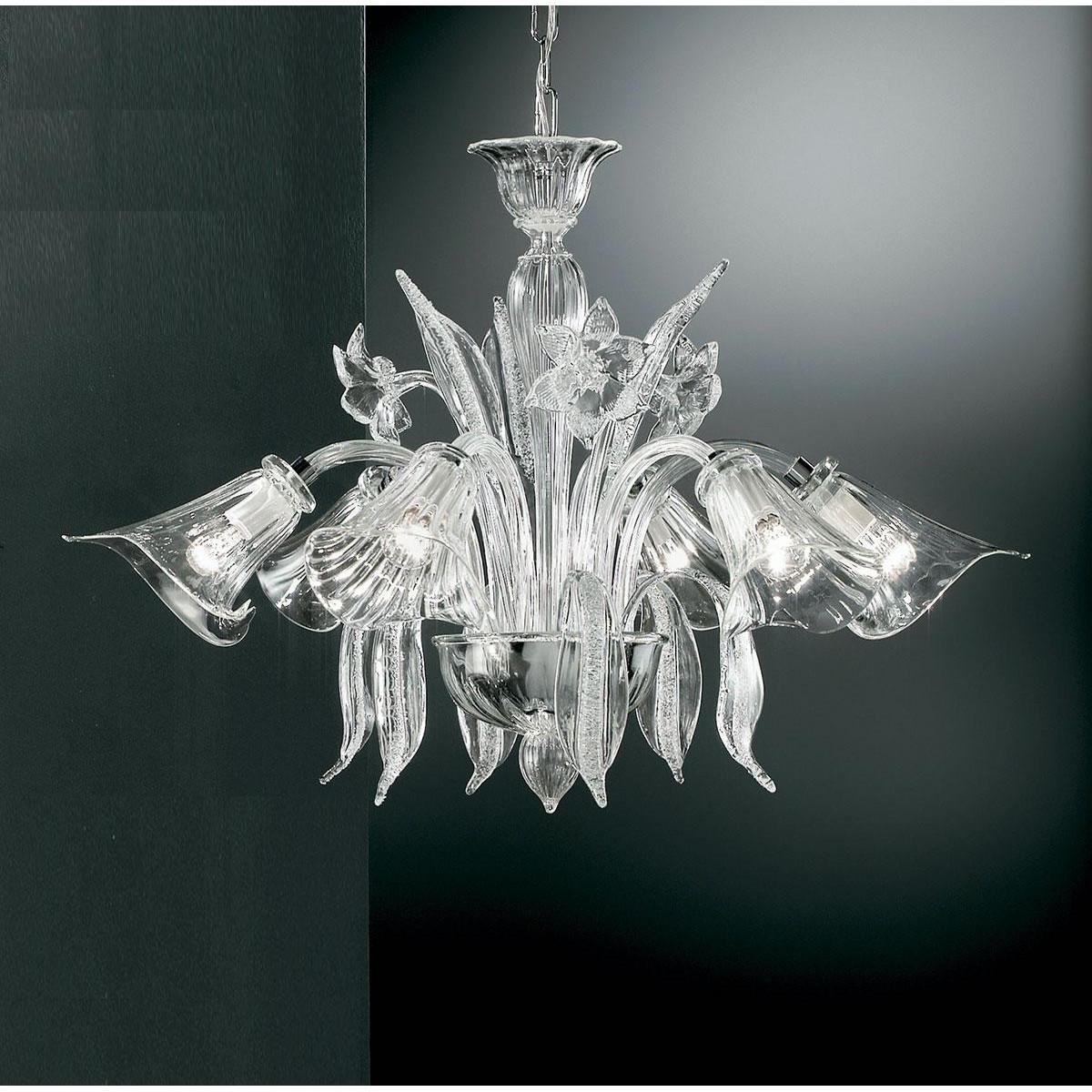 """Amanita"" lustre en cristal de Murano - 6 lumières - transparent"