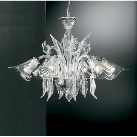 """Amanita"" Murano glass chandelier - 6 lights - transparent"