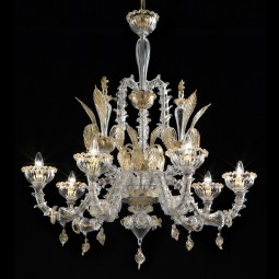Rezzonico 6 lights Murano chandelier transparent gold color