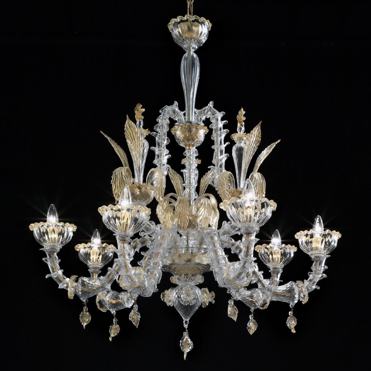 Orazio 6 luces lampara Murano - color transparente oro