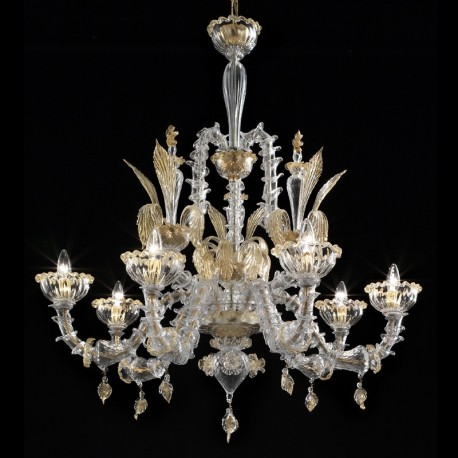 Orazio 6 lights Murano chandelier - transparent gold color