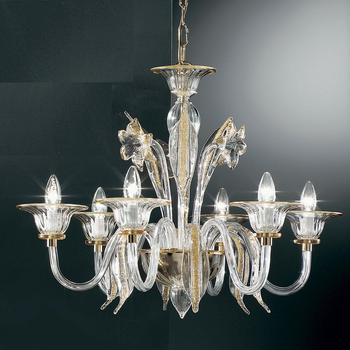 """""""Alloro"""" lampara de araña de Murano - 6 luces - transparente y ámbar"""