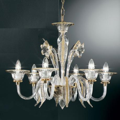 """""""Alloro"""" Murano glass chandelier - 6 lights - transparent and amber"""