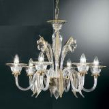 """Alloro"" Murano glass chandelier - 6 lights - transparent and amber"
